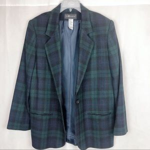 Sag Harbor Plaid Green Blue Black Blazer